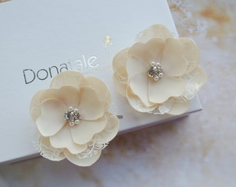 Wedding hair pins Bridal hair pins Bridal hair accessories Wedding hair flower Wedding Hair Piece Ivory  Champagne Pink Hair flower