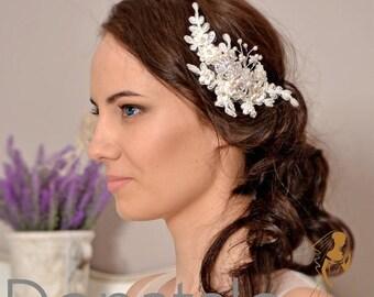 Rustic Bridal Headpiece Wedding hair piece  Wedding Headpiece Ivory Bridal Hair Comb Lace Headpiece Wedding Hair Flowers -CLAUDINE