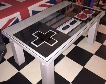 NINTENDO Control Pad Solid Wood Coffee Table NES Gamer Upcycled Repurposed