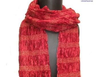Maroon/ red, golden,long scarf /muffler in silk.GIFT IDEAS.