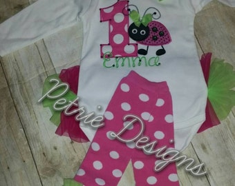 Baby girls ladybug theme birthday shirt or leggings set