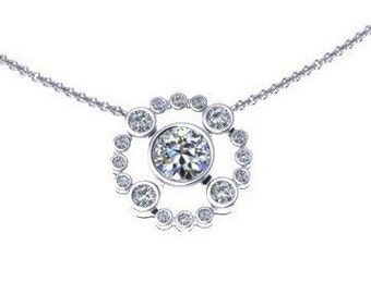 Diamond Necklace F1 Moissanite Necklace 14K White Gold Necklace with 5mm Round Forever One Moissanite valentine's Gift Wedding Jewelry-V1074
