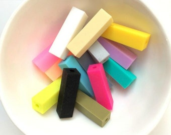 Silicone Cuboid / rectangle Loose Beads x 20