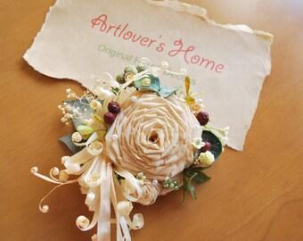 Victorian Cypress Corsage, Bridesmaid corsage, bridal accessory, unique accessory, Victorian-look corsage, bride's mom corsage