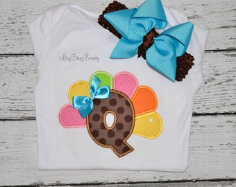 Girly colorful personalized thanksgiving turkey letter monogram shirt headband first thanksgiving