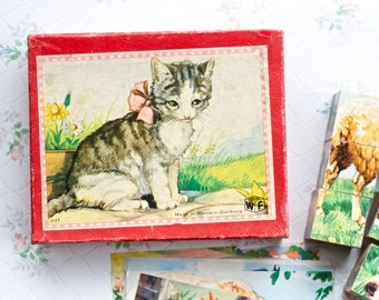 Cute Kitten and Farm Animals - Wooden Blocks Puzzle in Wood Box - Antique Toy - Made in West Germany