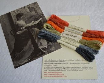 6 skeins of vintage linen embroidery thread Passion & Legacy Dante