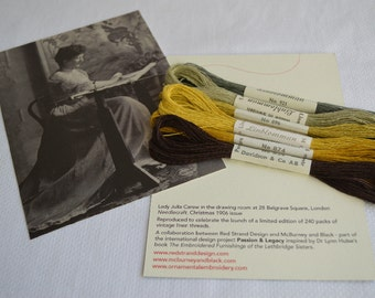 6 skeins of vintage linen embroidery thread Passion & Legacy Jacobean
