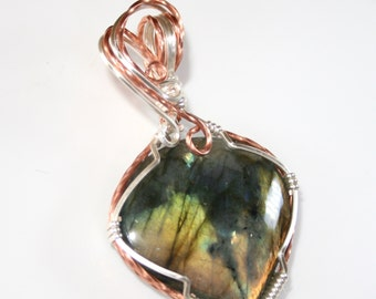Belle - Labradorite Pendant, Labradorite Jewelry, Wire Wrapped Pendant, Wire Wrapped Jewelry, Labradorite Necklace, OOAK