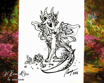 Dragon illustration - Rose Dragon with flower. Original Haiku ink drawing on high quality paper, legend myth Italy art collection flame OOAK