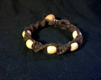 Natural Hemp Bracelet with Wood Beads