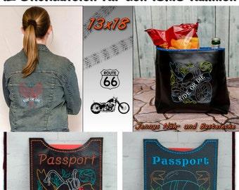Ride or frame Redwork designs for 13x18cm