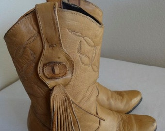 Vintage 'Laredo' Womens Tan Leather Cowboy Boots Made In USA - UK Size 6.5