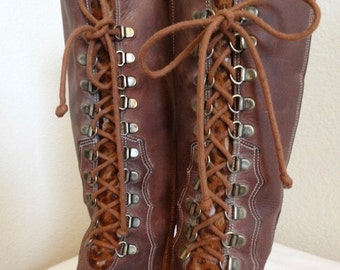 Vintage 'Nordstrom' Leather Lace-Up Knee Boots - UK Size 7 - Nice!!
