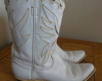 Vintage White Leather Womens Cowboy Boots - UK Size 5 - Lovely!!