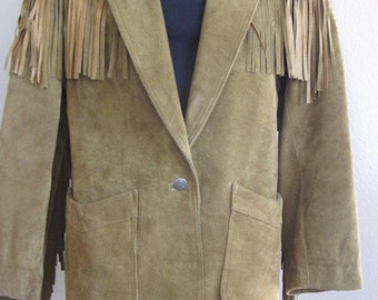 "Vintage 'Winlit' Fringed Suede Jacket MADE IN USA - Size 42"" Chest 31"" Length"