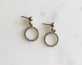 1980's Vintage Silver Miniature Twist Circle Hoop Drop Delicate Earrings