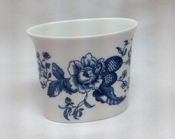 Vintage Blue Spays Toothpick Holder Blue Flowers Reproduction of Early Worcester Circa 1760 England Porcelain