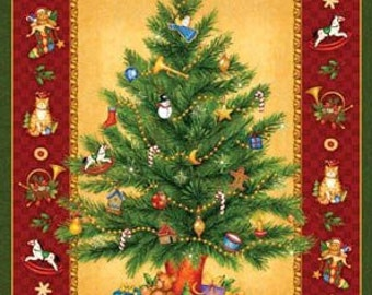 """Christmas Tree cotton panel -- approximately 23"""" x 44"""""""