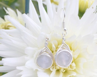 Chalcedony Wire Wrapped Drop Earrings (Free shipping in Canada!)