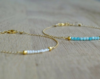 Tiny Gem Gold Bracelet/ Friendship Bracelet/  Bridesmaid Gift Idea/ Dainty Gold Bracelet/
