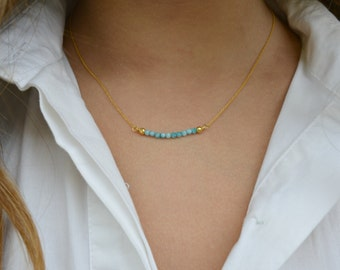 Tiny Gem/ Gold necklace/ Minimalist necklace/ Dainty necklace/ Bridesmaid Gift Idea/ Tiny gem necklace/ Gift for her.