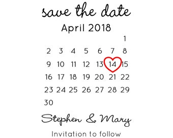 "Wedding Calendar Stamp, custom date and and names stamp, save the date stamp, wedding stamp, invitations stamp, card stamp, 2""x3"" (cstd50)"