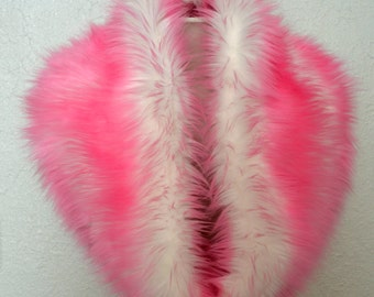 Faux Fur Scarf, Pink and White Faux Fur Cowl, Neck Warmer, Neck Piece, Circle Scarf, Ready to Ship!
