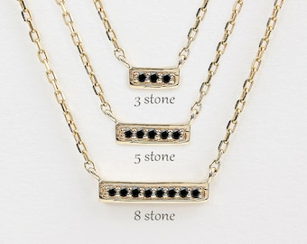 black diamond necklace, mini bar neckalce, black diamond bar necklace,14k rose gold,yellow gold,white gold option