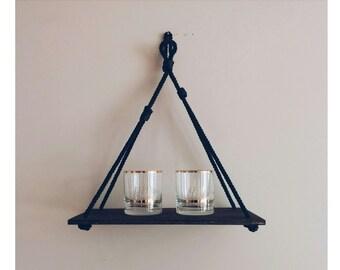 Black Rope Hanging Shelf