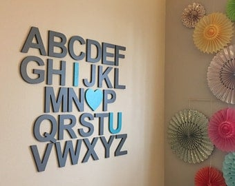 ABC Sign -Nursery Wall Letters - Wooden Alphabet Set - Alphabet Wall Letters - Nursery Decor Wall Hanging - Letters above crib -Wall Letters