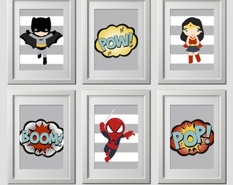 superhero wall art, vintage color superhero bedroom decor, superhero nursery wall decor, high quality superhero  wall art prints, set 6