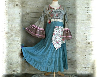 Rock Concert artsy Angel lace prairie tier gypsy floral peasant cowgirl country ruffled rustic Boho altered Clothing Knit maxi Dress s/m