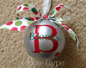 Beautiful Monogrammed Christmas Ornament