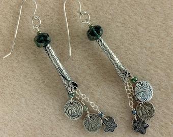 Silver & Green Delightful Dangle  Earrings