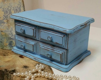 Jewelry Box, Shabby Chic Jewelry Box, Blue Jewelry Box, Vintage Jewelry Box, Blue, RobinsStudio, Shabby Chic, Recycled Box, Vintage, Rustic