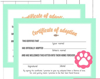 Pink vintage horse pony party adoption certificate printable mint kitten birthday party adoption certificates printable digital design yadclub Gallery