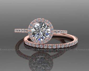 Moissanite Engagement Set, 14k Rose Gold White Sapphire And Moissanite Wedding Set Re00074r
