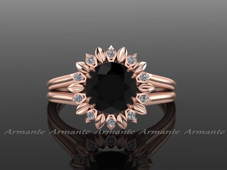Sunflower Engagement Ring, Black Diamond Engagement Ring, Diamond Ring,  Rose Gold, Wedding Ring Right Hand Ring. Re00032