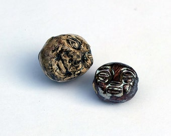 Character Beads - Doublesided Sculptural faces  - hand made by Kathrin Kneidl