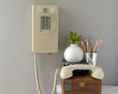 Retro wall phone in almond; working touch tone wall telephone; push button phone; push button wall phone