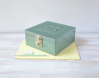 Industrial metal cash box; port a file; bank box; blue green