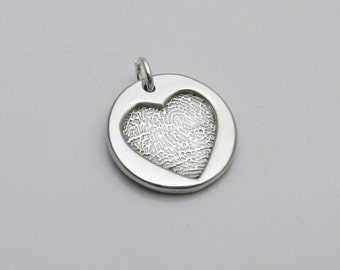 Silver Heart Fingerprint Charm, Personalized Silver Heart, Fingerprint Heart, Silver Heart Charm, Memorial Charm, In Memory Of, Mommy Charm