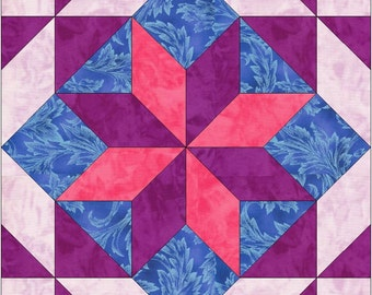 Shooting Star 15 Inch Block Paper Template Quilting Block Pattern PDF
