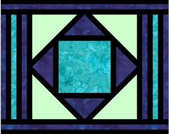 Stained Glass Diamond with Borders Log Cabin Paper Piece Foundation Quilting Block Pattern