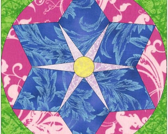 Star in Star Paper Piece Template Quilting Block Pattern PDF