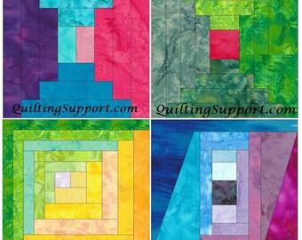 Log Cabin Set 3 Paper Foundation Piecing Quilting 4 Block Patterns PDF