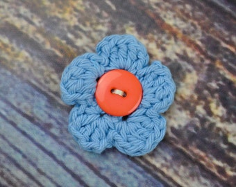 Hair Accessory - Flower Hair Clip - Blue and Peach