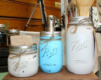 3 Piece Mason Jar Kitchen Set- Mason Jar Kitchen Set, Soap Dispenser, Mason Jar Decor, Rustic Home Decor