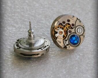 Steampunk Stud Earrings with Mechanical Watch Movement ,  Capri Blue Swarovski crystals, Steampunk Earrings , Clockwork  Movement earrings